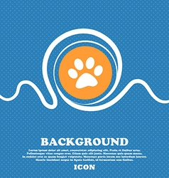 Paw icon sign blue and white abstract background vector