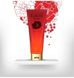 Red packaging for cosmetics vector