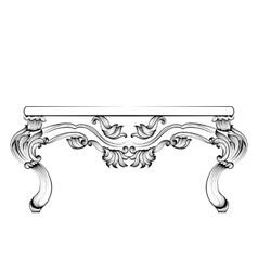 Rich baroque table french luxury carved vector