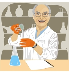 Senior male scientist mixing chemicals vector image