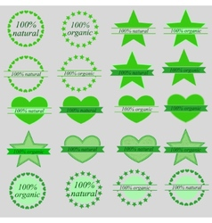 set of organic and natural labels vector image vector image