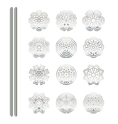 Silver mandala on white backgroun vector