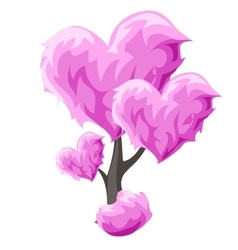 Tree with pink hearts element decor vector