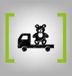 Truck with bear black scribble icon in vector