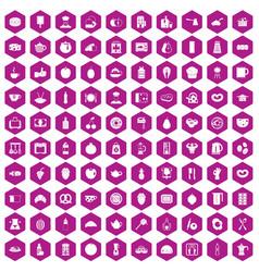 100 breakfast icons hexagon violet vector