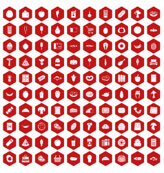 100 food shopping icons hexagon red vector image vector image