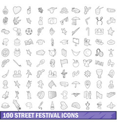 100 street festival icons set outline style vector