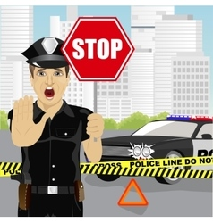 Policeman holding stop sign warning about accident vector