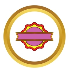 Award rosette with ribbon icon vector