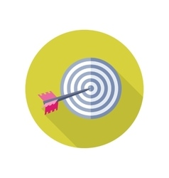 Arrow in target icon in flat style design vector