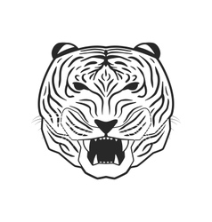 Line art tiger vector