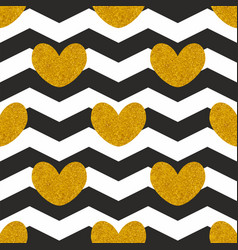 Tile pattern with golden hearts vector