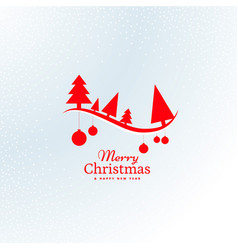 Beautiful red christmas tree and hanging balls vector