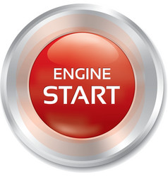 Start engine button red round sticker vector