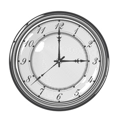 Vintage clock or watch in engraved style vector