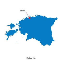 Detailed map of estonia and capital city tallinn vector