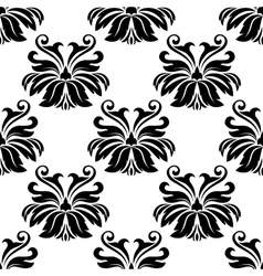 Damask seamless pattern with decorative flowers vector