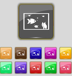 Aquarium fish in water icon sign set with eleven vector