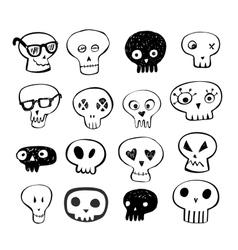 Skulls doodles set vector