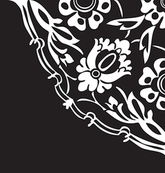 Black and white round floral border corner vector