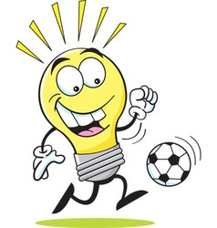 Cartoon light bulb playing soccer vector
