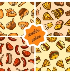 Fast food patterns set vector