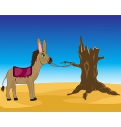 Burro in desert vector