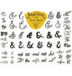 Ampersands and catchwords hand drawn set for logo vector