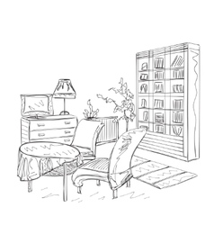 Room interior with couch and bookshelving vector