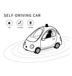 Self-driving car line icon vector