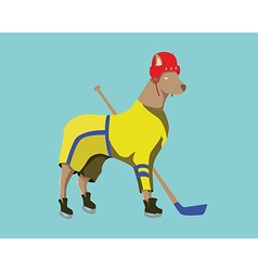 Hockey dog mascot in yellow sportswear vector
