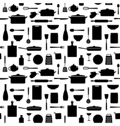 Seamless pattern of kitchen silhouettes vector