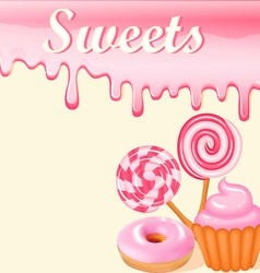 Sweet dessert food frame background vector