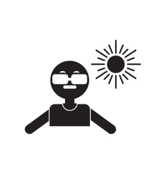 Flat icon in black and white style man in vector