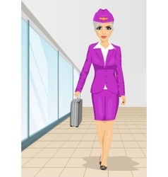 Air hostess walking with flight case vector