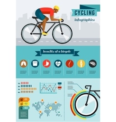 Cyclist riding on bicycle infographics vector