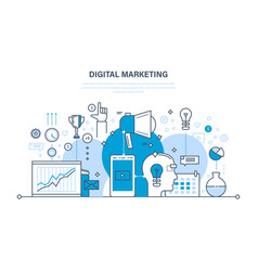 Digital marketing media planning online business vector