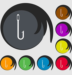 Fishing hook icon sign symbols on eight colored vector