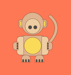 Flat icon on background kids toy monkey vector