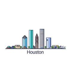 flat line houston banner vector image