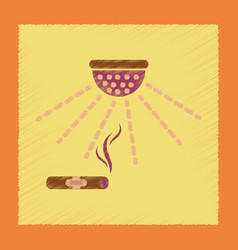 Flat shading style icon cigar smoke alarm vector