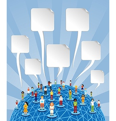 Global social media World with speech bubbles vector image vector image