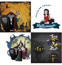 Halloween backgrounds set with vampire and their vector
