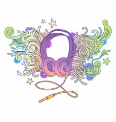 hand drawn headphones vector image