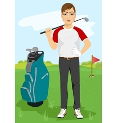 handsome male golfer with a golf club vector image