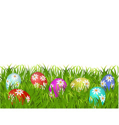 Happy easter easter painted eggs with a pattern vector