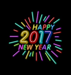 Happy New Year - 2017 colorful neon light vector image vector image