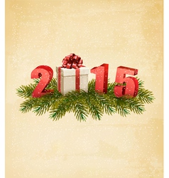 Holiday background with a present and 2015 vector