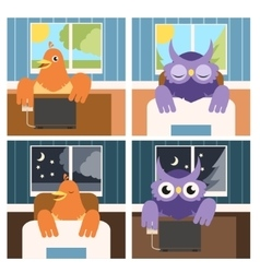 Owls and larks vector