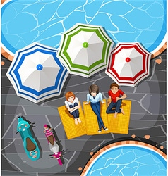 People picnic by the pool vector image